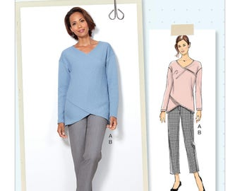 Butterick Pattern B6526 Misses' Crossover Knit Top and Side-Seam-Detail Pants