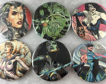 6 pcs, Comic Book, Magnets, Supervillains, Superheroes, Trading Card, 2.25 Inch, Recycled Paper, Geeky Nerdy, Gift Set, Item #69