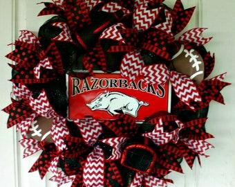 Arkansas Wreath, Arkansas Razorback Wreath, Mesh Wreath, Red/Black Wreath, Razorback Wreath,Football Wreath, College Wreath, Sports Wreath