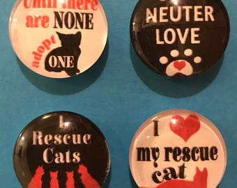 Cat Rescue glass magnets set of 4, Spay Neuter Love, cat lover, rescue cats, Adopt Cats