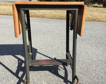 Industrial typewriter table with wood top drop leaf