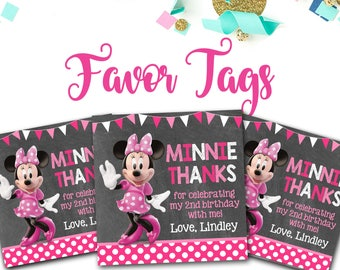 Minnie Mouse Favor Tags, Minnie Mouse, Minnie Mouse Party Decor, Favor Tags, Thank You tags, 3x3 Favor Tags, Pink