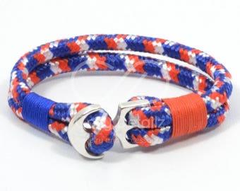 SPRING SALE paracord anchor bracelet, patriotic bracelet, 4th of July jewelry, american flag bracelet, USA bracelet, red white blue nautical