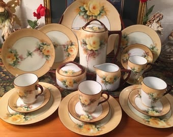 Rosenthal Handpainted Chocolate set. 19 pieces.
