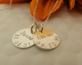 Personalized Gift for Wife/ Mother Necklace with Name and Date/ Kids name Necklace for Mom/ Wife Gift Christmas/ Birthdate Necklace Silver