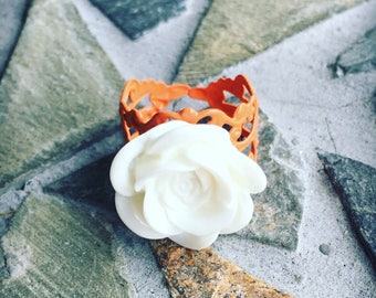 White Rose Cabochon and Peach Filigree Victorian Adjustable Statement Ring