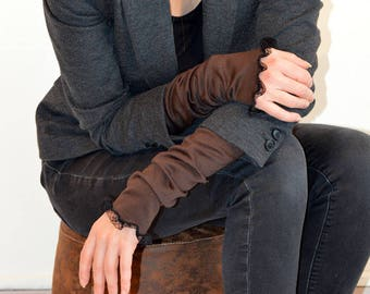 brown cuffs with lace