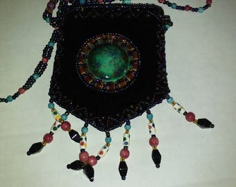 Beaded Satchel Hippy necklace