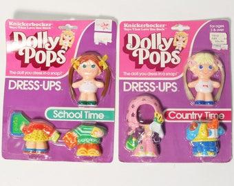 Vtg Dolly Pops Dress-Ups, Knickerbocker 1982 -Country Time & School Time Dolls