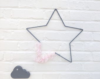 Star decorative_ruban organza, pink and gray nursery girl decor