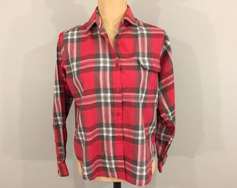 Red Plaid Shirt Plaid Top Long Sleeve 80s Womens Shirt Mens Shirt Red Gray Plaid Large Petite Medium 1980s Vintage Clothing Womens Clothing