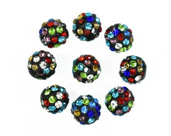 25 Pieces, 8MM Multi Colour Czech Crystal Pave Clay Round Disco Ball Beads-EMBCRB5534