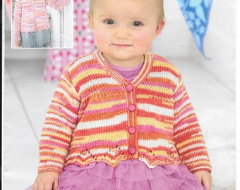Girls cardigan - original knitting pattern.  Sirdar pattern to fit birth - 7 years