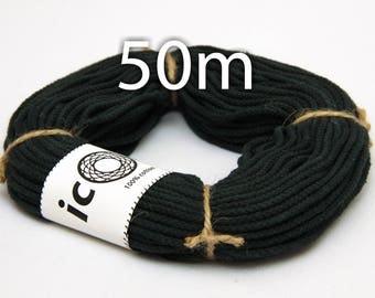 Cotton Cord 2.5mm 50m (54yds) - Black Macrame Cord - Braided Cotton Macrame Cord