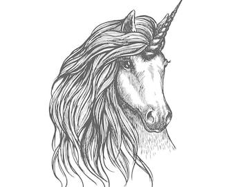 unicorn tattoo art 3.5 inch Sticker White Vinyl Stickers die cut