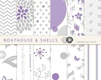 PURPLE & GREY SUMMER Digital Scrapbooking Paper, digital design scrapbook paper in purple, grey and white, download, printable - 277C