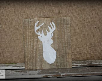 Deer Sign / White Sign / Deer Silhouette Sign / Farmhouse Sign / Nursery Sign / Baby Sign / Rustic Wood Sign / Pallet Sign / White Deer Sign