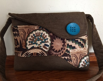 Southwest Messenger Bag for Woman, Woman Handbag, Over the Shoulder Bag, Fall Handbag, Womens Tote Bag, Brown Handbag, Fall Purse