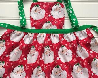 Christmas Apron for Kids, Santa Kid Apron, Red Apron, Holiday Apron, Child Apron, Toddler Apron, Little Girl Apron, Santa Apron