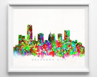 Oklahoma City Skyline, Print, Watercolor Painting, Oklahoma Wall Decor, Cityscape, City Skyline, Wall Art, Home Decor, Valentines Day Gift