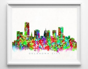 Oklahoma City Skyline, Print, Watercolor Painting, Oklahoma Wall Decor, Cityscape, City Skyline, Wall Art, Home Decor, Mothers Day Gift