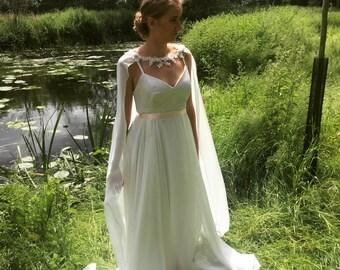 Bridal Cape - Bridal Capelet - Bridal Cover up - Bridal Train - Chiffon Cape Veil - Lace Cape