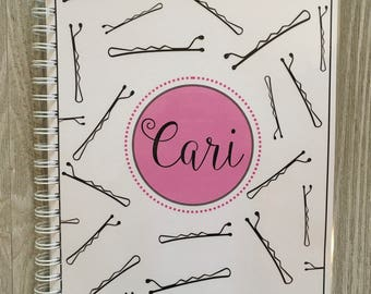 Salon Yearly Appointment Book with Income Tracking - Black Bobby Pins Design - Personalized