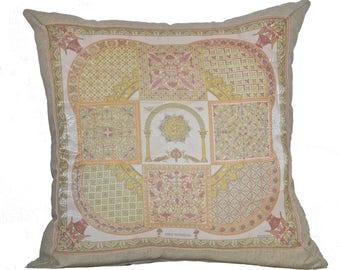 "Vintage Hermes Silk Scarf & Linen Scarf Pillow ""Cicis Byzantins""  4461-1"