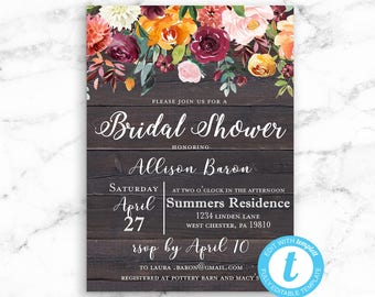 Rustic Floral Bridal Shower Invitation - Editable Instant Download - RILEY FLORAL