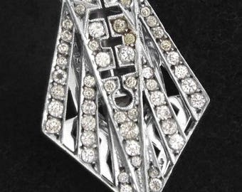 1920s - Sterling Silver 935 Art Deco Clear Glass Paste Clip / Brooch by J.E.