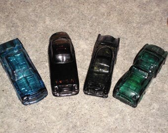 4 Vintage Avon Glass Cars - After Shave Cologne Bottles