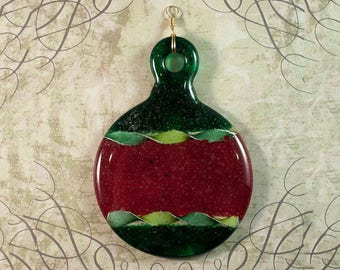 Red and green fused glass ornament