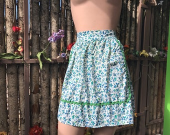 """Vintage bird and flower apron/ blue and green apron/ half apron/ little blue birds and blue flowers on apron/ 18"""" length apron/ floral apron"""