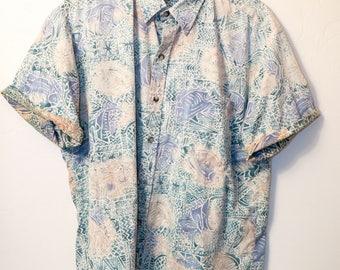 Men's - 90s - 80s Hawaiian Shirt Floral Aesthetic