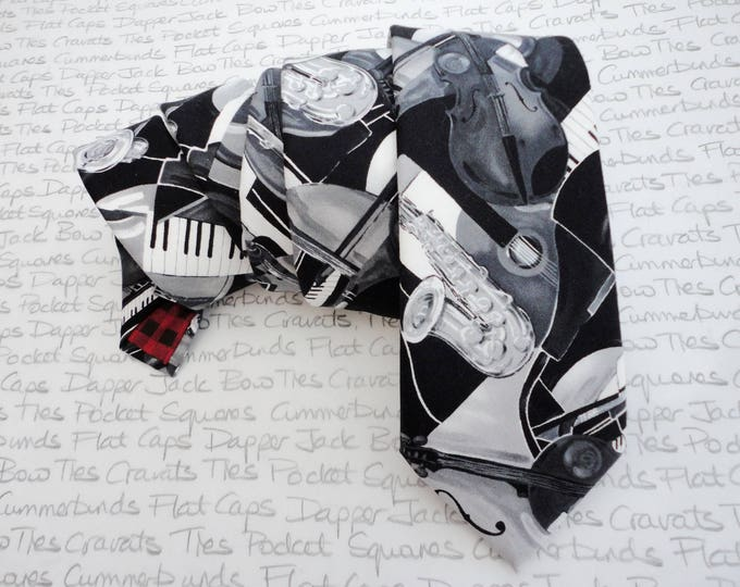 Featured listing image: All that Jazz, musical monochrome neck tie, ties for men