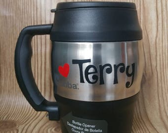 20 oz Black with Red Heart BUBBA KEG Personalized, Travel Mug