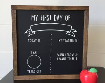 First Day of School Chalkboard // Back to School Chalkboard // First Day of School Sign // Framed Wood Chalkboard // Gifts for Her