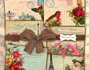 80%  off Graphics Sale Vintage Paris Cards 2,5x3,5 Digital Collage Sheet Printable Download Eiffel Tower Vintage Flowers Shabby Chic Postcar