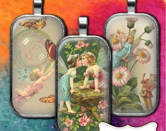 80 % off Summer Sale Rectangle Flower Fairies Vintage Digital Collage Sheet 1 x 2 Domino Collage Sheets Domino Jewelry Pendant Necklace Tile