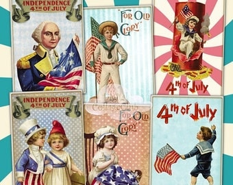 80 % off Graphics SaLe Vintage Retro 4th of July Independence Day Digital Collage Sheet Images for Jewelry Holder Cardmaking Scrapbooking Jo