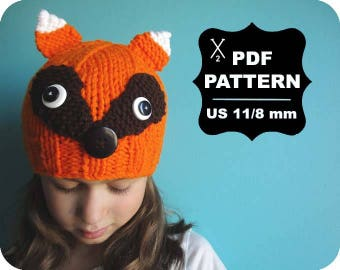 English-French Two Needle KNITTING PATTERN / Digital Download / #48 / Knitted Fox Hat / 6-16M to 5 years-Adult / US11 / 8mm