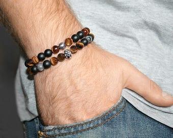 wrap around bracelets beaded wrap bracelet double wrap bracelet mens bracelets black matte bracelet skull bracelet gemstone jewelry for men
