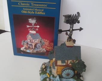 Classic Treasures  Animated  Musical  Houses  -  -- Old Style Edifice  - Train   Weather vane  -