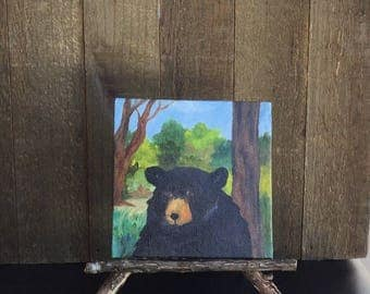 Bear , Black bear, miniature art, oil painting, Smoky Mountains, Appalachian Mountains, Blue Ridge Mountains, easel,Rhododendron easel