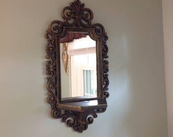 Goth mirror with shelf, black and gold mirror and shelf, goth wall hanging, vintage goth mirror shelf combination