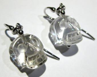 cristal rock skull  earrings  silver 925%