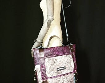 Handbag beige snake and purple