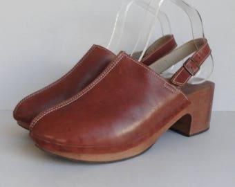 Brown Slingback Vintage Clogs // Size EU 39