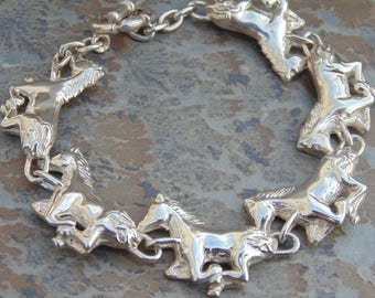D'Molina - Mexican Sterling Silver Running Horses Toggle Bracelet
