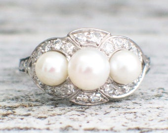 RESERVED *(NOT for SALE) Third Payment Platinum Pearl and Diamond Vintage Edwardian Ring